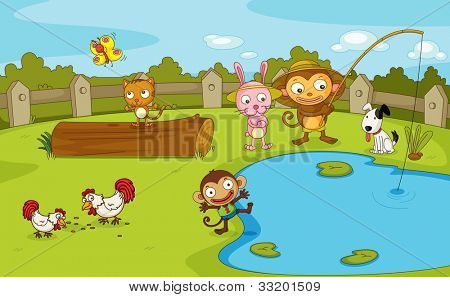 Illustration of a group of animals by the pond - EPS VECTOR format also available in my portfolio.