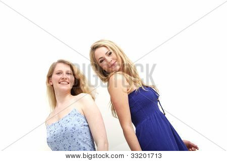 Two Smiling Woman On White Background