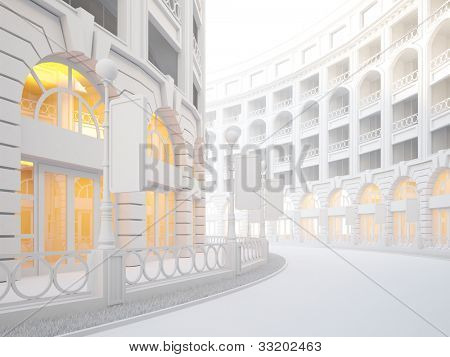 A 3d illustration of atmospheric empty street of retail stores.