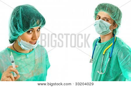 two young doctors, isolated on white background