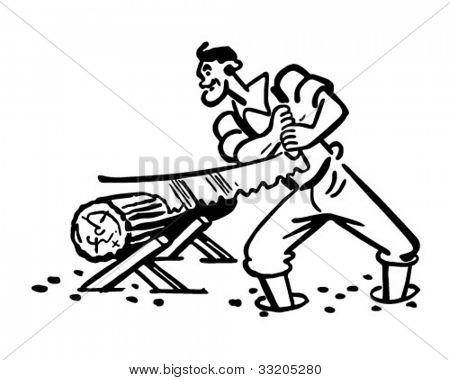 Lumberjack Sawing Log - Retro Clipart Illustration