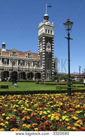 Clock Tower At Dunedin Railway Station, New Zealand