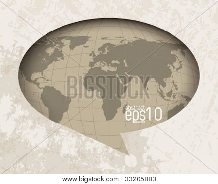 eps10 vector vintage world map in speech balloon background