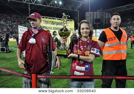 Golden cup at a soccer final