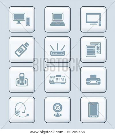 Modern office electronics gray icon-set