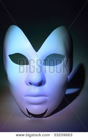 simple beautiful white serious mask, which is colorful highlighted