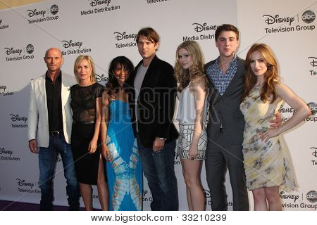 LOS ANGELES - MAY 20:  Luke Goss, Radha Mitchell, Suleka Mathew, Wil Traval, Erin Moriarty, Sterling Beaumon, Jamie Ray Newman at the ABC / Disney Upfronts on May 20, 2012 in Burbank, CA