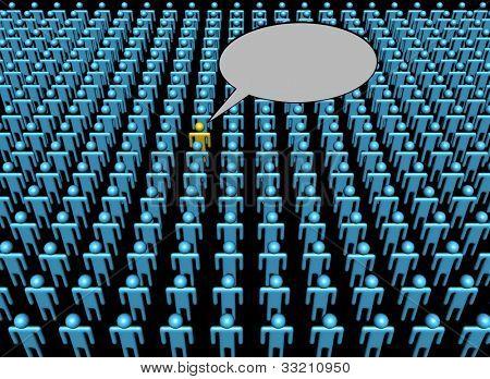 Voz de una persona en la ilustración de la multitud
