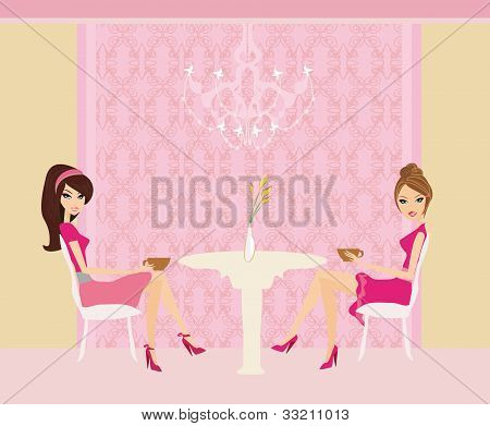 cute pretty two girls in coffee break , vector illustration