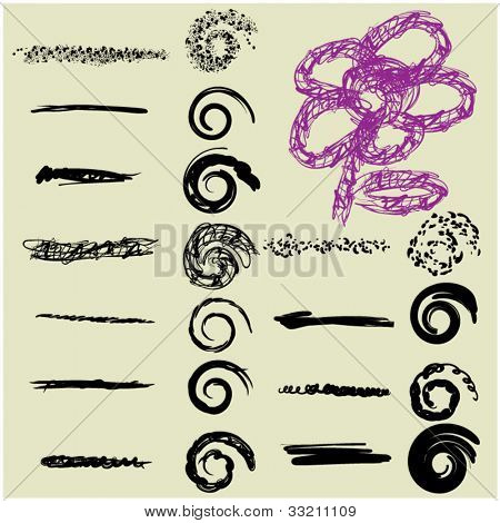 art sketching set of vector grunge ink brush