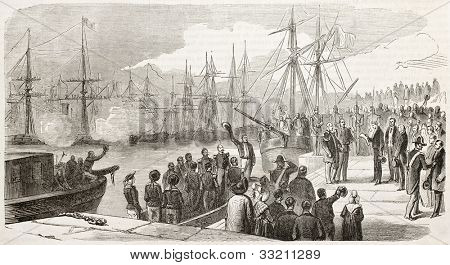 Marshall Forey (French army) landing in Saint Nazaire, coming back from Mexico. Created by Janet-Lange and Dumont after Saint-Edme, published on L'Illustration, Journal Universel, Paris, 1863