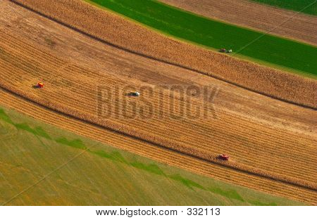 Aerial View Of Multiple Farming Operations In Eastern Usa