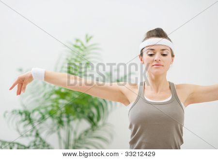 Fitness Woman Making Gymnastics