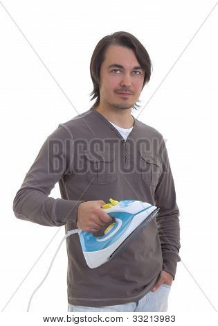 Young Handsome Man Holding An Iron, Isolated On White