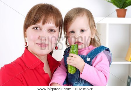 portrait Cute cheerful child with mother