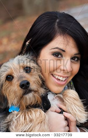Hispanic Woman With Dog