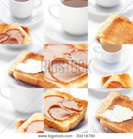 Collage Of Tea And Toast With Caramel,toast With Butter