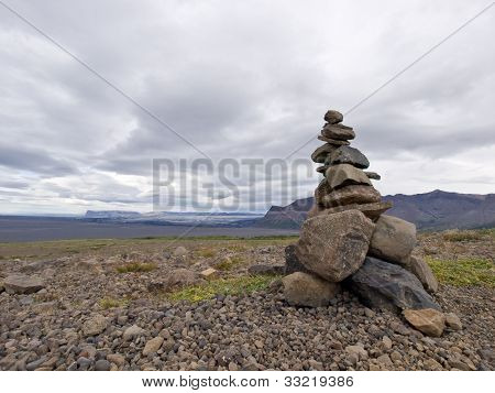 Stack Of Zen Stones In Iceland