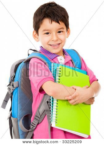 Elementary school student carrying notebooks - isolated over a white background