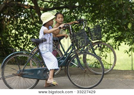 Vietnamese Children on Bicycles