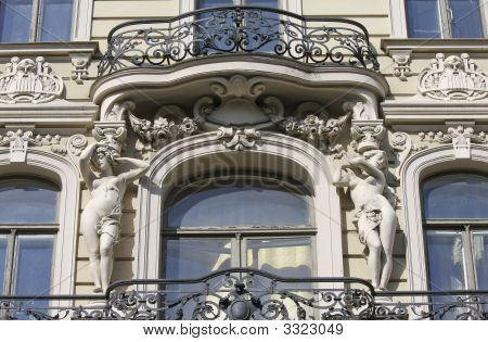 Balcony On Jugendstil House In Riga