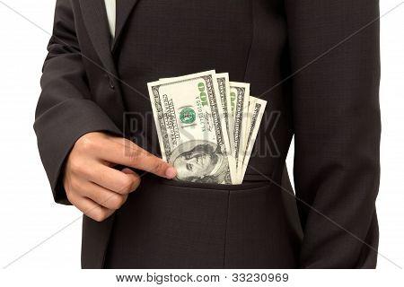 Business Woman Putting Dollar.