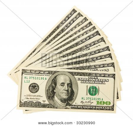 Dollar Bills U.s. On White Background