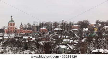 Houses And Church. Winter. Smolensk. Russia.