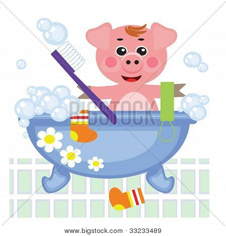 Piggy showering in bath, vector.