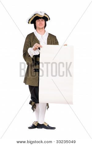 Man In A Historical Costume. Isolated