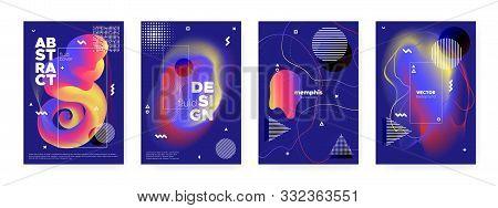 poster of Flow Memphis Brochure. Modern Abstract Banner. Blue Liquid Shape. Futuristic Bauhaus Composition. Fl