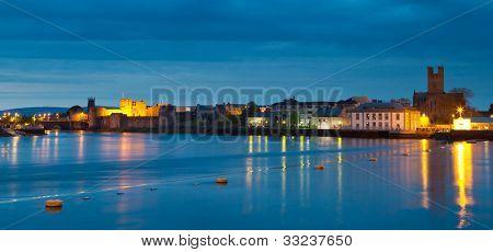 Panorama of Limerick city at dusk, Ireland