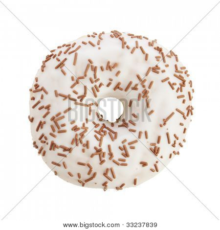 Donut with white icing and milk chocolate sprinkles, top view, isolated