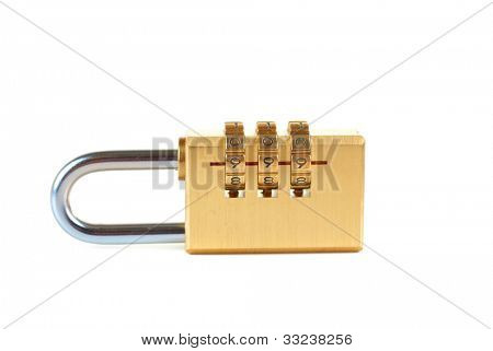 Close-up combination padlock isolated on white background