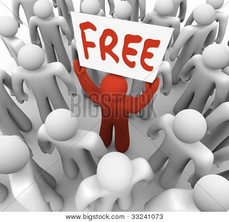 The word free on a banner sign held by a unique red man in a crowd of people, attracting customers for a special sale or giveaway event at a store or business