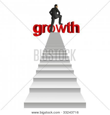 High resolution concept or conceptual businessman in top of white stair over a red 3d growth text isolated on white background,for business,man,money,progress,achievement,wealth,market or improvement