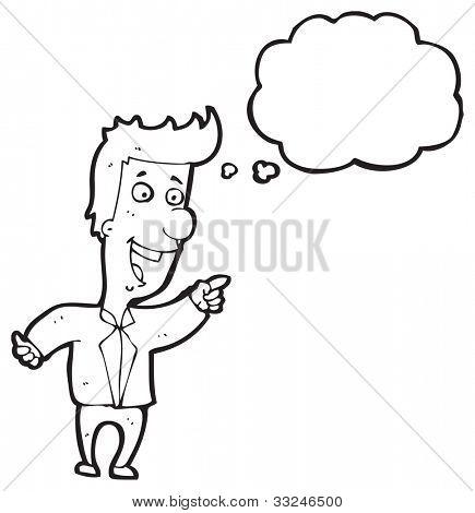 Karikatur Mann zeigen und lachen