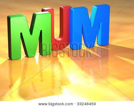 Word Mum On Yellow Background