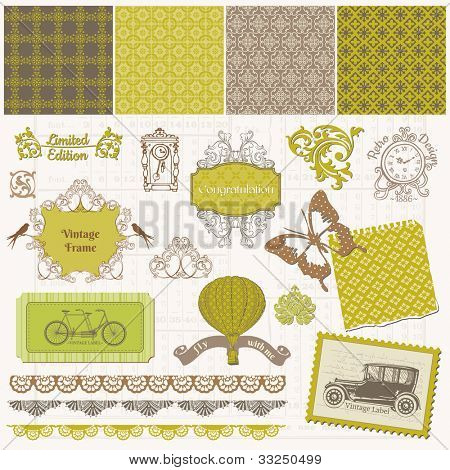 Scrapbook Design Elements - Vintage Time Set - in vector