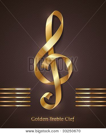 Gold ribbon in the shape of treble clef - vector illustration