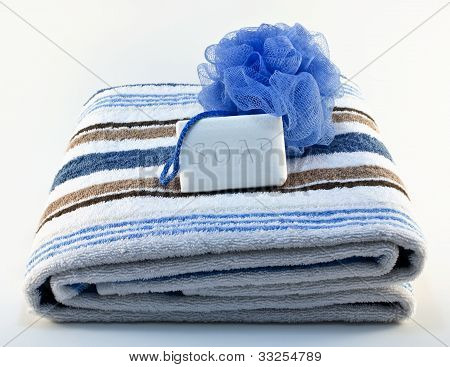 Towel With Soap And Sponge