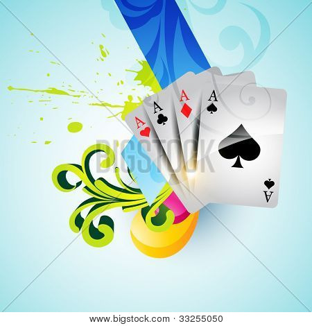 set of casino playing cards on colorful background