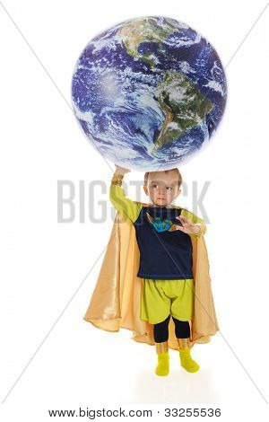 "A preschool superhero, ""Planet Man,"" holds up the world with his hand.  Elements of this image furnished by NASA.   On a white background."