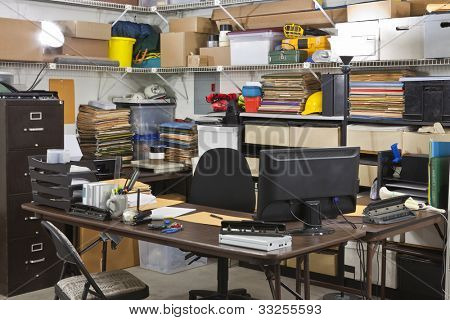 Busy warehouse office shipping and receiving department desk.