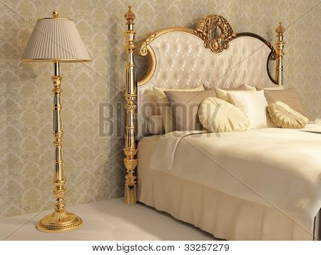 Luxurious Bed With Golden Frame And Stand Lamp In Royal Bedroom Interior