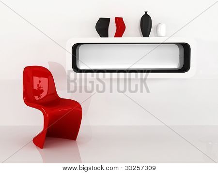 Chair And Shelf With Vases In Minimalism Interior. Red Black White