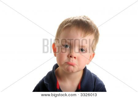 Cute Young Boy Pouting