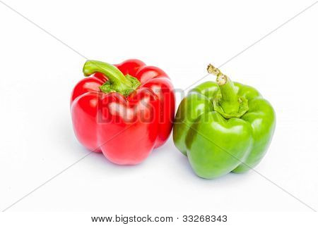 Healthy Food. Fresh Vegetables. Peppers On A White Background..