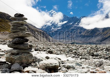 W vale Hooker Aoraki Mt Cook, Alpes do Sul, Nova Zelândia