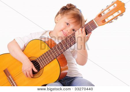 Funny Little Girl Plays Guitar